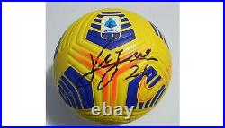 2020-21 Match Used Napoli Roma Serie A Nike Flight Soccer Ball Signed By Insigne