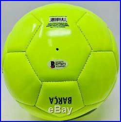 Barcelona Lionel Messi Signed Nike Soccer Ball Leo Neon Beckett BAS COA