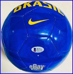 Brazil Ronaldinho Signed Nike Soccer Ball Autographed BAS Beckett COA Blue