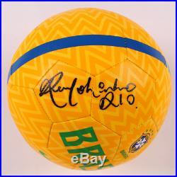 Brazil Ronaldinho Signed Nike Soccer Ball Autographed BAS Beckett COA Yellow