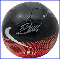 Cristiano Ronaldo Signed Red & Black Nike Soccer Ball withCase BAS ITP