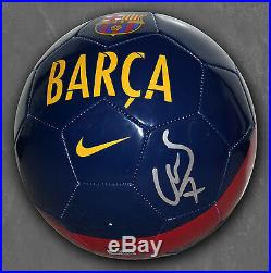 David Villa Signed Fc Barcelona Soccer Ball Spain Fcb Nycfc Autographed +coa
