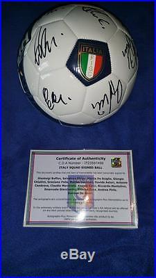 Italy Signed Soccer Ball Buffon, De Rossi, Pirlo, Pelle, Sciglio, Sirigu, Zaza