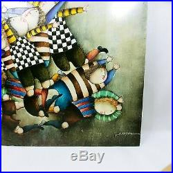 J Roybal Signed Oil Painting on Canvas Kids Playing Soccer Ball 24 by 30