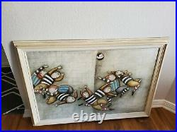J Roybal signed Canvas Painting Kids Playing Ball Soccer rugby original no res