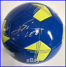 LEO MESSI Signed Autographed UEFA Champions Argentina Blue Soccer Ball COA