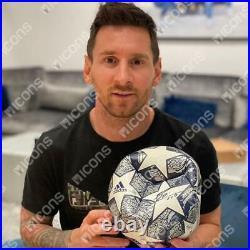 Lionel Messi Barcelona Signed Silver & White 2019-20 UEFA Champions League Ball