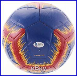 Lionel Messi Signed Barcelona Logo Soccer Ball Inscribed Leo Beckett COA