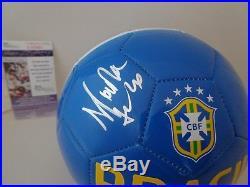 Marta Vieira da Silva signed Blue Brasil Soccer Ball Brazil Orlando Pride JSA