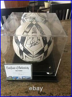 Mia Hamm Autographed Size 5 Umbro Soccer Ball With C. O. A. + Display Case