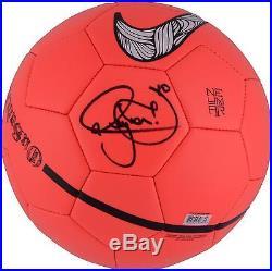 Neymar Santos Barcelona Autographed Red Nike Soccer Ball