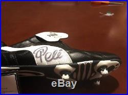 PELE Autographed Puma King Soccer Cleat. LEAF COA Included