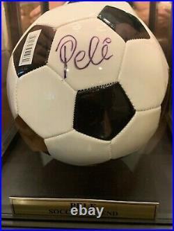 Pele Signed Soccer Ball (Pele Hologram & Fanatics Hologram) and Display Case