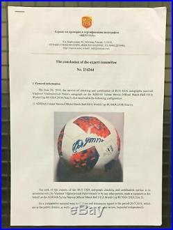 President Vladimir Putin Signed WORLD CUP Soccer Match Ball RUS COA Photo proof