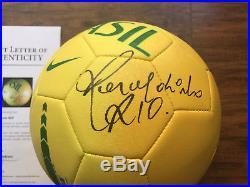 RARE Ronaldinho Signed Brasil Soccer Ball BAS LOA A07451 L@@K psa jsa