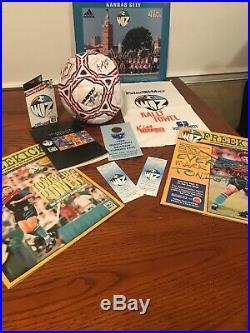 Rare MLS Kansas City Wizards 1996 Team Signed Ball, Rally Towel Programs Tickets