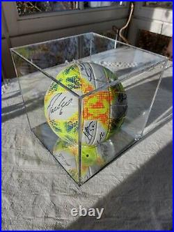 Real Madrid Original team signed ball in a mirror based show case