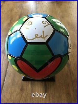 Romero Britto signed ceramic soccer ball