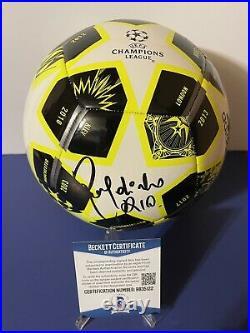 Ronaldhino Signed Champions League Soccer Ball With Beckett COA PROOF Brazil