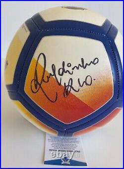 Ronaldinho Signed FC Barcelona Full Size Logo Soccer Ball Inscribed Rio BAS