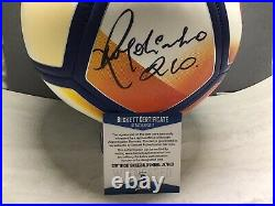Ronaldinho Signed Nike FC Barcelona Soccer Ball Auto Beckett Witnessed COA 1A