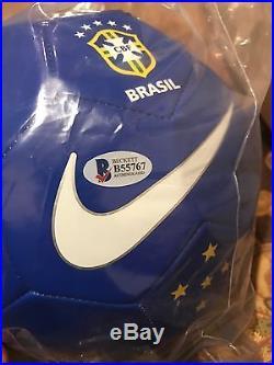 Ronaldinho Signed Soccer Ball Brazil Beckett Coa Bas Coa 2