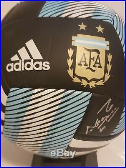 Sergio Aguero Signed Adidas Argentina Logo Soccer Ball Beckett COA