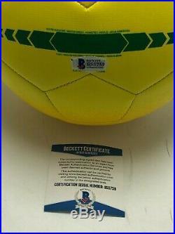 Thiago Silva And David Luiz Signed Yellow Adidas Brasil Soccer Ball BAS B55759