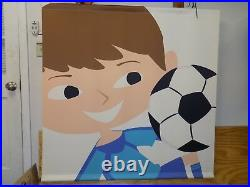 Toys R Us Store Display Sign Banner Thick Vinyl Boy Soccer Ball Daycare Decor