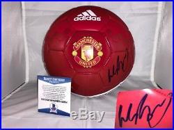 Wayne Rooney Hand Signed Manchester United Soccer Ball Beckett Cert Bas