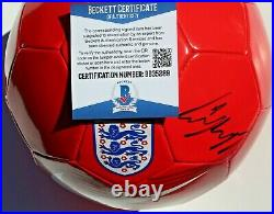 Wayne Rooney Signed England Soccer Ball withBeckett COA BB35289 Manchester