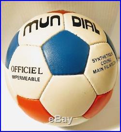 World Cup Football MUNDIAL Original TRICOLORE ELAST UNUSED Signed M. Platini #5