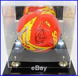 Xavi Hernandez Autographed Spain Soccer Ball PSA/DNA COA in Display Case