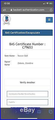 Zinedine Zidane Signed Ball Real Madrid Signed Ball Bas Coa 3